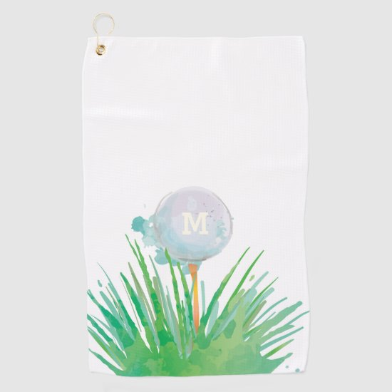 Monogram. Modern Sport.  Golf Ball In Watercolor. Golf Towel