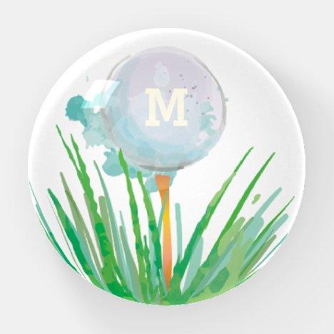 Monogram Modern Sport  Golf Ball In Watercolor Paperweight