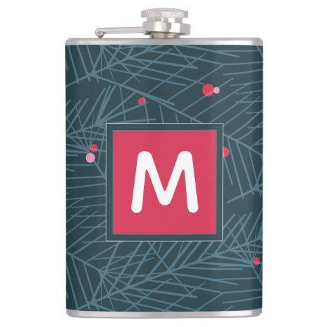 Monogram Modern Spruce and Berries Custom Holiday Flask