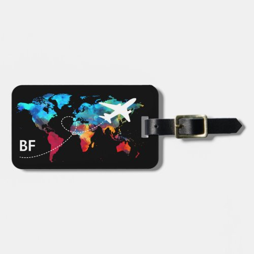 Monogram Modern World Map Travel Luggage Tag