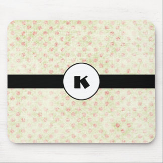 Monogram Monogram on Faded Yellow and Red Polkadot Mouse Pad