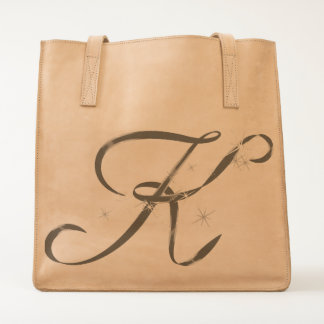 Monogram Monogrammed Initial Letter K Leather Tote