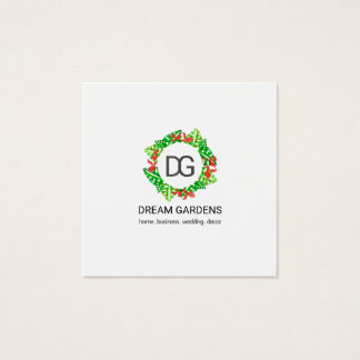Monogram Monstera Leaf Watercolor Orchid Floral Square Business Card