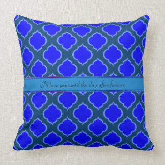 Monogram Moorish Design Inspired Ogee Blue Shades Throw Pillow