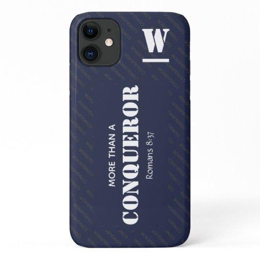 Monogram MORE THAN A CONQUEROR Christian iPhone 11 Case