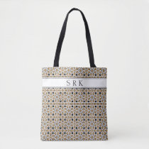 Monogram Moroccan Beige and Black Pattern Reusable Tote Bag