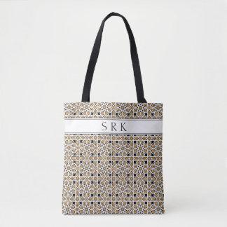 Monogram Moroccan Beige and Black Pattern Reusable Tote Bag