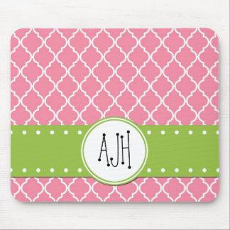 Monogram - Moroccan Trellis - Pink Green Mousepads