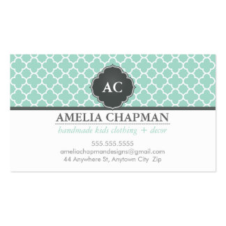 MONOGRAM morrocan tile pattern mint green grey Double-Sided Standard Business Cards (Pack Of 100)