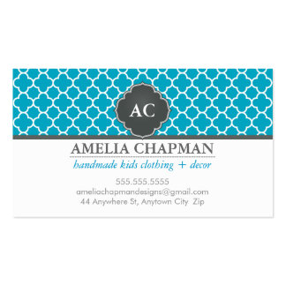 MONOGRAM morrocan tile pattern turquoise blue grey Double-Sided Standard Business Cards (Pack Of 100)