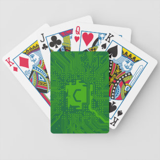 monogram motherboard computer circuit - dark green bicycle playing cards