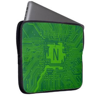 monogram motherboard computer circuit - dark green computer sleeve