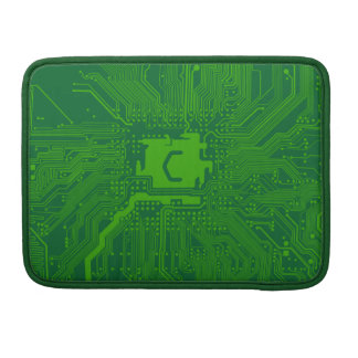 monogram motherboard computer circuit - dark green sleeve for MacBook pro