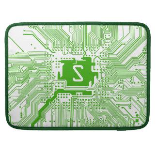 monogram motherboard computer circuit green white sleeve for MacBooks