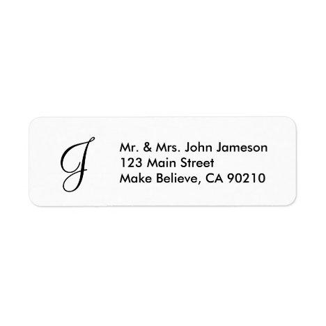 Monogram Mr & Mrs Envelope Address Label Template