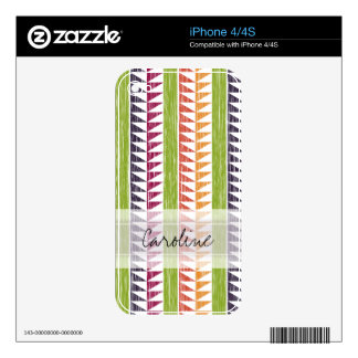 Monogram Multicolor Geometric Ikat Stripes Pattern Decals For iPhone 4