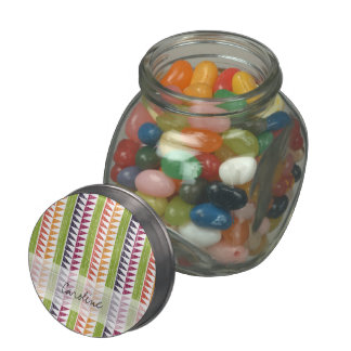 Monogram Multicolor Geometric Ikat Stripes Pattern Jelly Belly Candy Jar