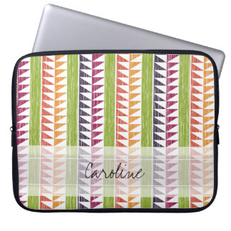 Monogram Multicolor Geometric Ikat Stripes Pattern Laptop Sleeve
