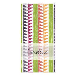 Monogram Multicolor Geometric Ikat Stripes Pattern Picture Card