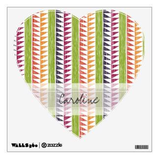 Monogram Multicolor Geometric Ikat Stripes Pattern Wall Sticker