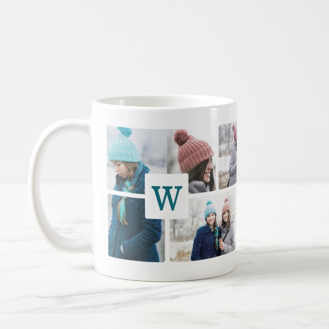 Monogram Multiple Photo Collage Photo Layout Coffee Mug