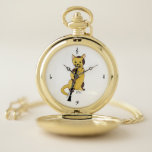 """Monogram Music Cat Plays the Clarinet Pocket Watch<br><div class=""""desc"""">Do you or does someone you know play the clarinet? Then here&#39;s the perfect pocket watch with its talented cat playing its heart out,  four music symbols denoting the hours. Edit the placeholder initials to completely personalize for yourself or as a gift.</div>"""