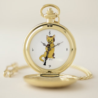 Monogram Music Cat Plays the Clarinet Pocket Watch