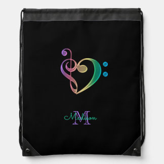 Monogram Music Clef Heart on Black Backpack