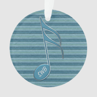 Monogram Music Note and Stripes in Shades of Blue