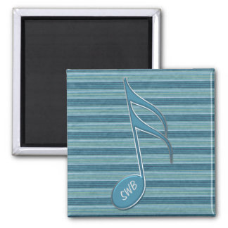 Monogram Music Note and Stripes in Shades of Blue 2 Inch Square Magnet
