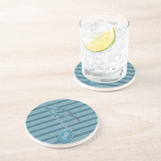 Monogram Music Note and Stripes in Shades of Blue Beverage Coaster