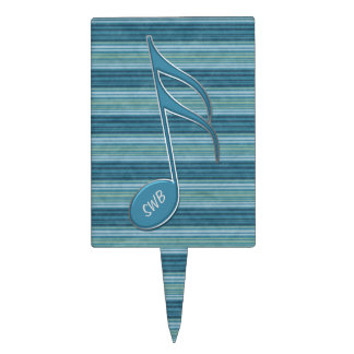 Monogram Music Note and Stripes in Shades of Blue Cake Toppers
