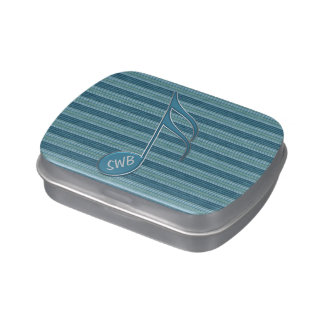 Monogram Music Note and Stripes in Shades of Blue Candy Tin