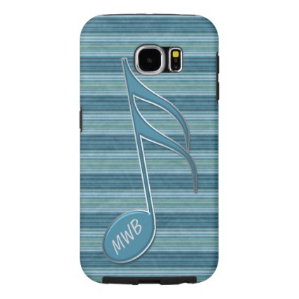 Monogram Music Note and Stripes in Shades of Blue Samsung Galaxy S6 Cases