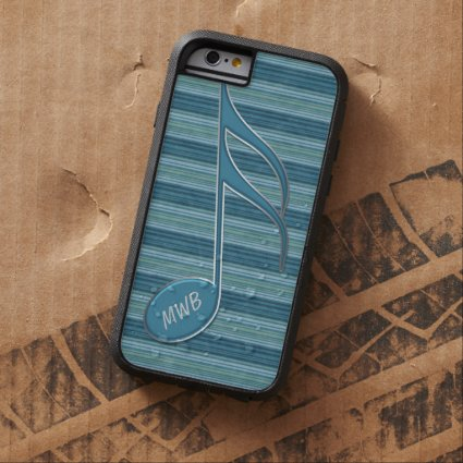 Monogram Music Note and Stripes in Shades of Blue Tough Xtreme iPhone 6 Case