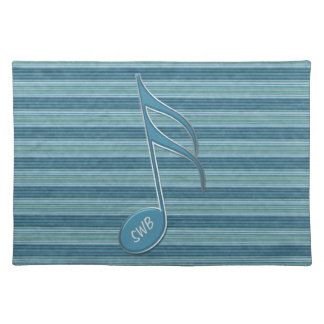 Monogram Music Note and Stripes in Shades of Blue Cloth Place Mat