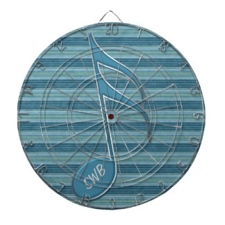 Monogram Music Note and Stripes in Shades of Blue Dartboard With Darts