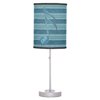 Monogram Music Note and Stripes in Shades of Blue Desk Lamps