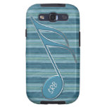 Monogram Music Note and Stripes in Shades of Blue Galaxy SIII Cases