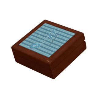 Monogram Music Note and Stripes in Shades of Blue Gift Boxes