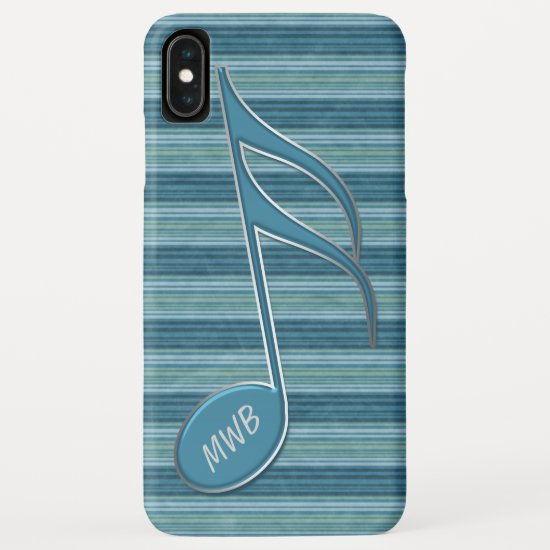 Monogram Music Note and Stripes in Shades of Blue iPhone XS Max Case