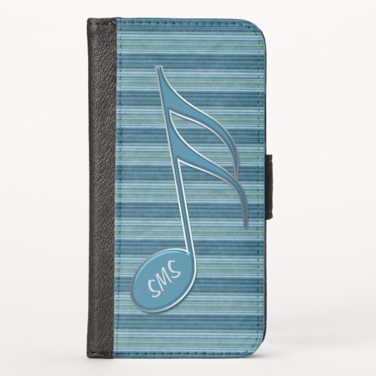 Monogram Music Note and Stripes in Shades of Blue iPhone XS Wallet Case
