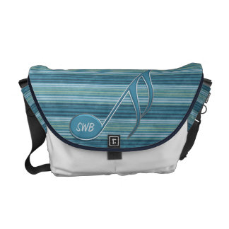 Monogram Music Note and Stripes in Shades of Blue Messenger Bag