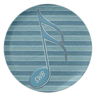 Monogram Music Note and Stripes in Shades of Blue Party Plates