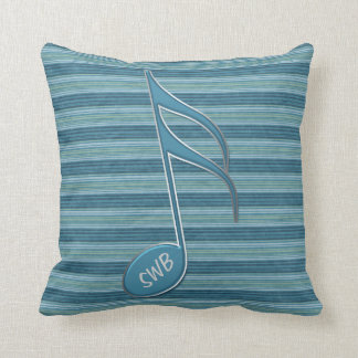 Monogram Music Note and Stripes in Shades of Blue Pillows