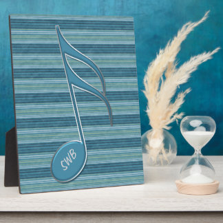 Monogram Music Note and Stripes in Shades of Blue Plaque