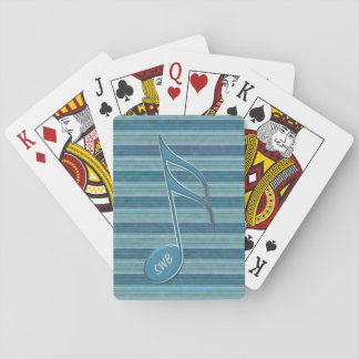 Monogram Music Note and Stripes in Shades of Blue Poker Deck