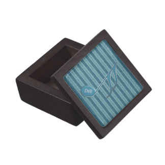 Monogram Music Note and Stripes in Shades of Blue Premium Jewelry Box
