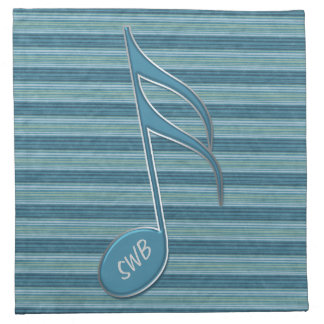 Monogram Music Note and Stripes in Shades of Blue Printed Napkin
