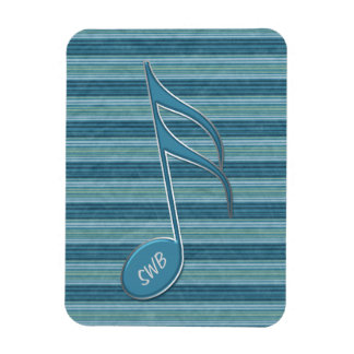 Monogram Music Note and Stripes in Shades of Blue Rectangular Photo Magnet